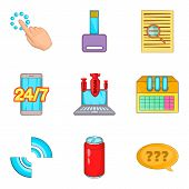 Work Creation Icons Set. Cartoon Set Of 9 Work Creation Icons For Web Isolated On White Background poster