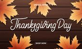 Thanksgiving Day. Banner Design For Thanksgiving Sale, Promotion, Etc. Thanksgiving Day Lettering, F poster