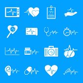 Heart Pulse Beat Icons Set. Simple Illustration Of 25 Heart Pulse Beat Vector Icons For Web poster