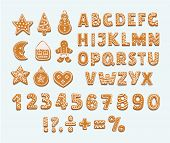 Christmas Or New Year Gingerbread Cookies Alphabet, Arabic Numbers And Signs. Set Of Isolated Figure poster