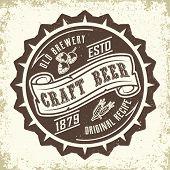 Brewery Vintage Logo Design, Craft Beer Emblem, Grange Print Stamps, Beerhouse Typography Emblem, Ve poster