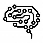 Future Brain Icon. Outline Future Brain Vector Icon For Web Design Isolated On White Background poster