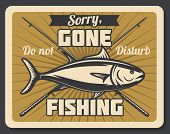 Gone Fishing Retro Banner With Fish And Spinning Rod. Outdoor Hobby, Recreation Activity And Fisherm poster