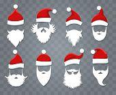 Santa Hats And Beards. Vector Santa Xmas Face With Hat Or Cap And Christmas Beard poster