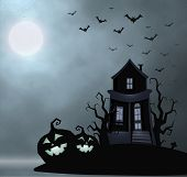 Ghost Old House, Mistery Place, Halloween Vector Illustration. Smile Pumpkin, Dry Tree, Bats Flock,  poster