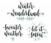 Winter Seasonal Inspirational Calligraphy Set. Wonderland, Sweater Weather, Let It Snow Hand Written poster