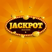 Jackpot Gambling Retro Banner Decoration. Business Jackpot Decoration. Winner Sign Lucky Symbol Temp poster