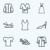 Style Icons Line Style Set With Flat Shoes, Pump Shoes, Evening Wear And Other Outfit Elements. Isol poster