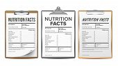 Nutrition Facts Vector. Blank, Template. Diet Calories List. For Box. Food Content. Fat Information. poster