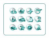 Travel Icon Set - Teal-Silver poster