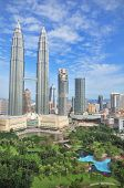 stock photo of petronas twin towers  - Petronas towers of Kuala Lumpur and gardens - JPG