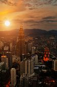 stock photo of klcc  - Kuala Lumpur Sunset Scene with Petronas Towers - JPG