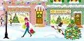 A Young Woman Walks With Shopping Bags Over A Snow-covered Street On Christmas Eve. A Woman Is Walki poster
