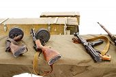 Thompson Submachine Gun, Submachine Gun Shpagin, Submachine Gun Sudaev At The Shooting Range. Boxes  poster