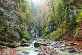 Waterfall With Water Falling From Cliff. Manyavskii Waterfall In Carpathian Mountains. Water Falling poster