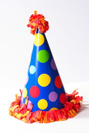 stock photo of birthday hat  - isolated birthday celebration hat - JPG
