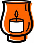 picture of hurricane clips  - Illustration of a candle in a hurricane lamp on a white background - JPG