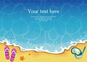 picture of shale  - Vector illustration of Summer tropical banner with sea - JPG