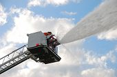 picture of ladder truck  - Inservice training on a new 100 foot platform fire truck - JPG