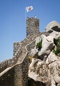 pic of saracen  - Flags on the walls of a hilltop medieval castle of Moors in Sintra - JPG