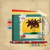 Постер, плакат: Лом морской шаблон для ваши летние воспоминания с фото рамка