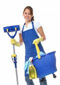stock photo of maids  - A cute maid cleaner woman with mop and bucket - JPG