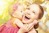 stock photo of mother baby nature  - Happy cheerful family - JPG
