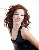 stock photo of brown-haired  - Portrait of beautiful and fashion model woman with blown hairs - JPG