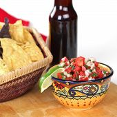 Bowl Of Salsa And Basket Of Chips