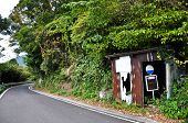 stock photo of bus-shelter  - Old Bus Stop in the mountain on the way from Obama to Nagasaki Japan - JPG