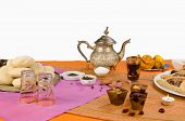 stock photo of halwa  - Still life displaying an assortment of Ramadan foods - JPG