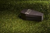 stock photo of horrific  - Halloween coffin on lawn with letters RIP - JPG