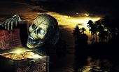 stock photo of skeletal  - Pirate opening a chest full of gold coins in the caribbeans - JPG