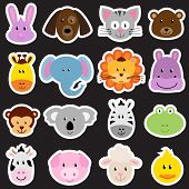 stock photo of koalas  - Vector Zoo Animal Faces Set  - JPG