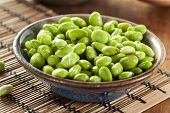 foto of soya-bean  - Cooked Green Organic Edamame with sea salt against a background - JPG