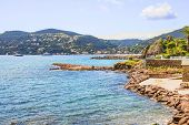 Beach and the castle in La Naouple, French Riviera