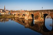 stock photo of arch foot  - Devorgilla Bridge crossing the River Nith in Dumfries - JPG