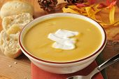 pic of butternut  - A bowl of butternut squash soup with a dollop of sour cream