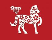 picture of motif  - 2014 Chinese Lunar New Year of the Horse Silhouette with Cherry Blossom Flower Motif and Horse Text Symbol Paper Cut Out on Red Background Illustration - JPG