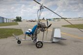 picture of gyrocopter  - a handbuilt gyrocopter ultralight aircraft on an airfield - JPG