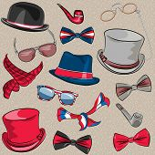 image of bowler hat  - set hipster hats scarves bow tie tobacco pipes glasses eyeglasses - JPG