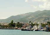 foto of cleopatra  - Turkey Alanya Mediterranean sea coastal panorama view of the city and the beach of Cleopatra - JPG