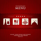picture of diners  - vector paper Restaurant Menu design on red background cover sample - JPG