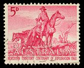 AUSTRALIA - CIRCA 1960: a stamp printed in the Australia shows The Overlanders by Sir Daryl Lindsay,