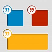 stock photo of quotation mark  - set of three colorful text frame with quotation mark - JPG