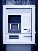 image of automatic teller machine  - Automated teller machine in blue tone - JPG