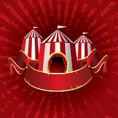 stock photo of tarp  - vector Illustration of a circus tents on red grunge burst - JPG