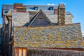 foto of michel  - Roofs and houses from the village under the monastry on the Mountain Saint Michel - JPG
