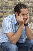 stock photo of sad man  - Sad Young Man - JPG