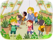 picture of greenhouse  - Illustration of Kids Touring a Greenhouse - JPG